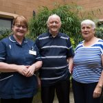 Margaretta, Josephine and Brian at the Whipps Cross Rheumatology garden