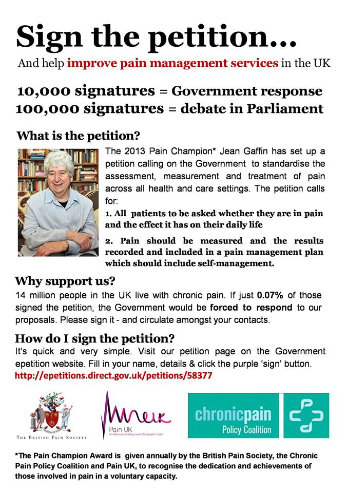photo of the petition on pain leaflet